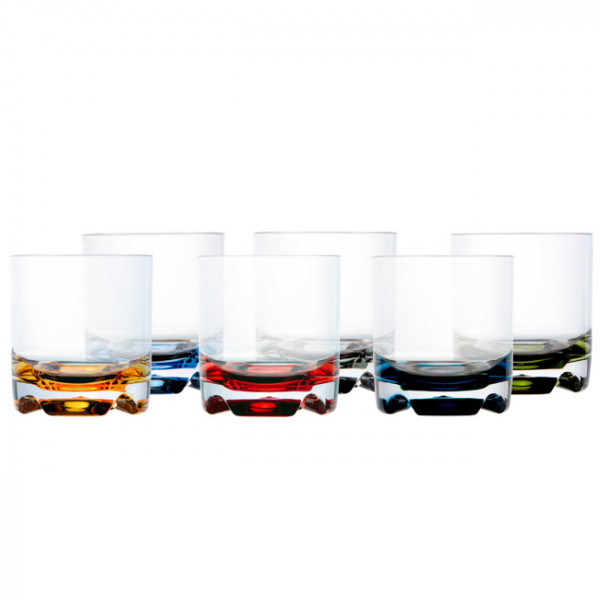 Чаша за вода PARTY - цветна основа, 6 бр