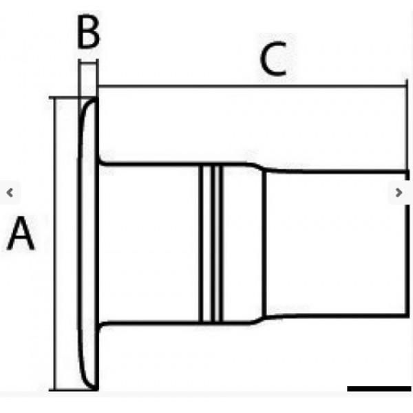 Гърловина DIESEL полирана AISI 316, Ø50 mm