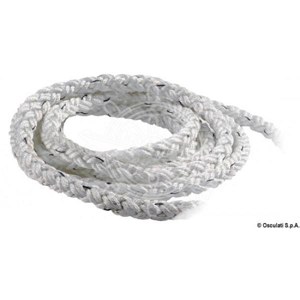 Въже 8-жилно, полиестер, бяло, Ø 12-24 мм