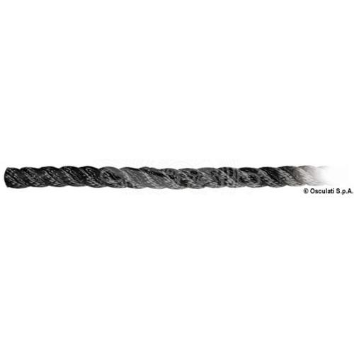 Въже полиестер трижилно, черно, Ø 8-32 мм